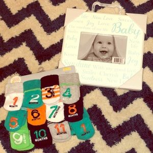 Other - Baby Boy Month Socks & Frame New!